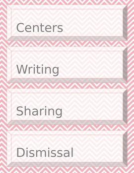 Pink and White Chevron Agenda Labels**Editable**