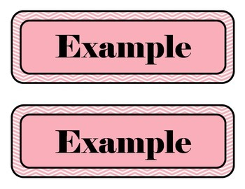 Pink and White Chevron Labels