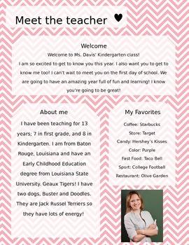 Pink and White Chevron Meet The Teacher Template **Editable**