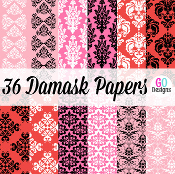Pink and White Damask Digital Papers, Valentine Papers