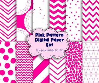 Pink and White Digital Paper Set - 12 High Resolution Digi
