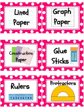 Pink and White Polka Dot Classroom Supplies Labels