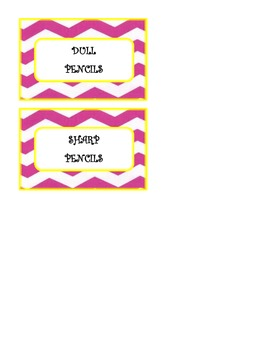 Pink and Yellow Chevron Pencil Cup Tags
