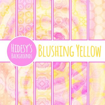 Pink and Yellow Detailed Swirls Digital Paper / Backgrounds Clip Art