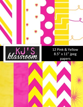 Digital Papers - Pink & Yellow