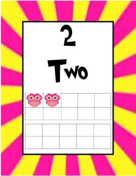 Pink and Yellow Owl Ten Frame Numbers
