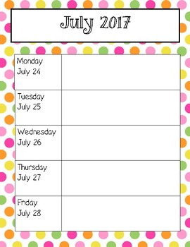 Pink and Yellow Polka Dot Weekly Calendars for 2016-2017