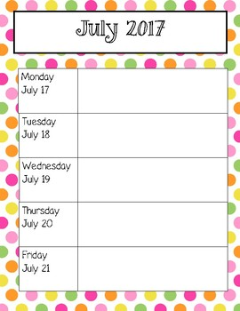 Pink and Yellow Polka Dot Weekly Calendars for 2017-2018