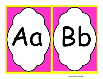 Pink and Yellow Word Wall Letters