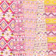 Pink and Yellow aztec Digital Paper arrows tribal patterns scrapbook background