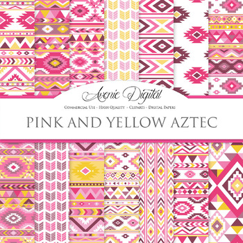 Pink and Yellow aztec Digital Paper arrows tribal patterns
