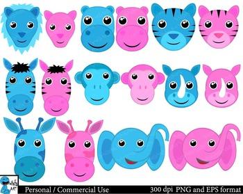 Pink and blue safari animals Digital Clip Art Graphics 16 images cod119