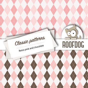 Pink and chocolate classic patterns—argyle, houndstooth, chevrons, gingham