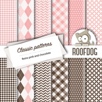 Pink and chocolate classic patterns—argyle, houndstooth, c