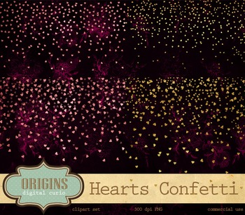 Pink and gold foil confetti hearts valentines day clipart glitter overlays
