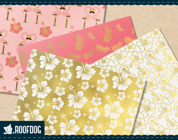 Pink and gold foil flamingo digital paper.