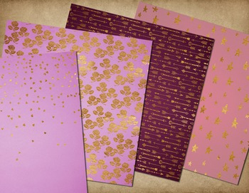 Pink and gold valentines day digital paper backgrounds, gold paint strokes