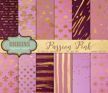 Pink and gold valentines day digital paper backgrounds, go