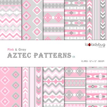 Pink and gray Aztec patterns Wallpapers. Tribal digital papers.  Backgrounds.
