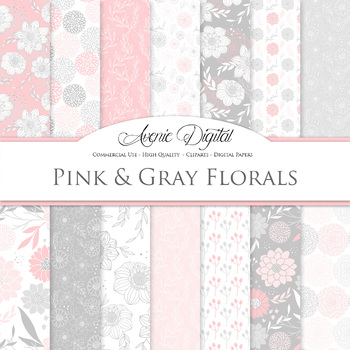 Pink and gray Floral Digital Paper patterns - Pastel dahlia flower backgrounds