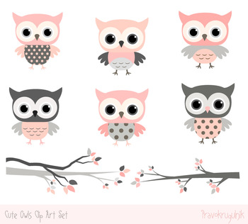 Pink and grey owls clip art set, Cute owls on tree branches clipart collection