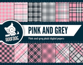 Pink and grey plaid pattern tartan digital papers