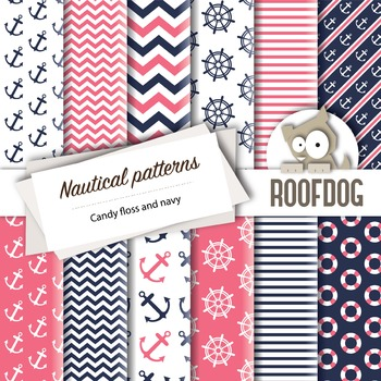 Pink and navy nautical themed digital papers