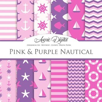 Pink and purple Nautical Digital Pape patterns sailing scrapbook backgrounds