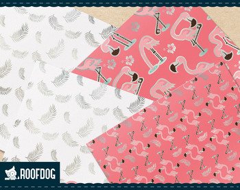 Pink and silver flamingo digital paper.
