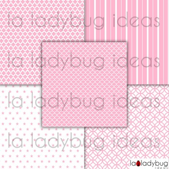 Pink and white digital papers. Pink and white patterns. Commercial use.