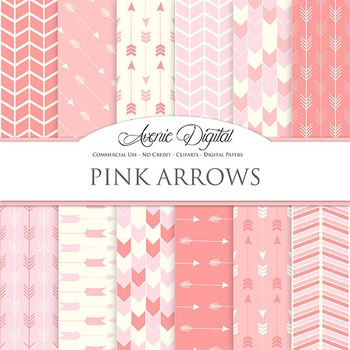 Pink arrow Digital Paper patterns tribal arrows pastel scrapbook background