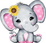 Pink baby elephant, Sunflower, clip art