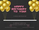 Pink birthday certificate
