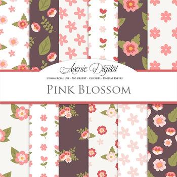Pink blossom flowers Digital Paper floral printable pattern scrapbook background
