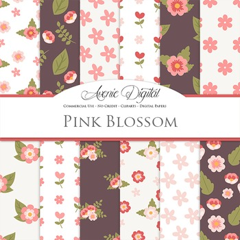 Pink blossom flowers Digital Paper floral printable pattern scrapbook background