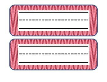 Pink chevron name plates