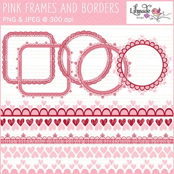 Pink digital lace frames and digital borders