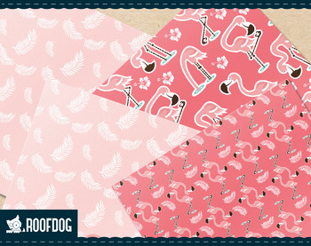 Pink flamingo digital paper.