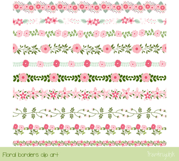 Pink flower border clipart cute elegant floral divider decorative pink flower border clipart cute elegant floral divider decorative edging clip mightylinksfo Images