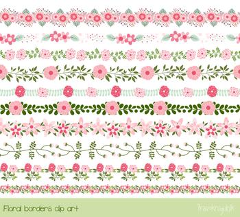 Pink flower border clipart, Cute elegant floral divider decorative edging clip