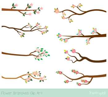 Pink flower branches clipart, Floral tree branch, blossom, flowering, bloom set