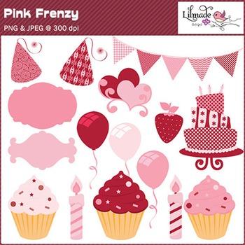 Pink frenzy Valentine clip arts