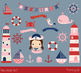 Pink girl nautical clipart, Lighthouse, Whale, Boat, Anchor, Crab, Seagull, Helm