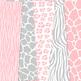 Pink grey Animal Prints Digital Paper safari scrapbook backgrounds zebra leopard