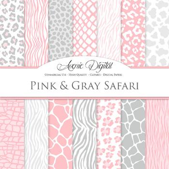 Pink grey Animal Prints Digital Paper safari scrapbook bac