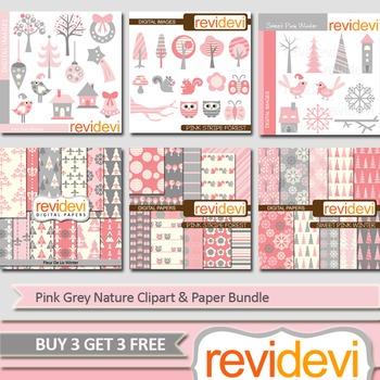 Pink grey nature clip art (6 packs) trees, owls, birds