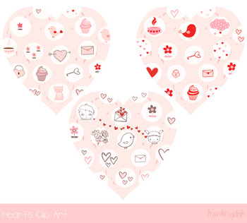 pink hearts with kawaii drawings valentine heart clip art cute rh teacherspayteachers com Love Birds Clip Art Love PICCs