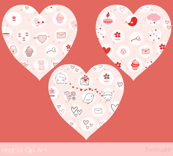 Pink hearts with kawaii drawings, Valentine heart clip art, Cute love clipart