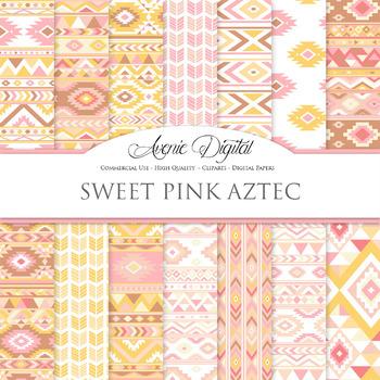 Pink lemonade aztec Digital Paper arrows tribal patterns scrapbook background