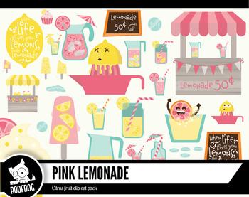 Pink lemonade stand digital clipart